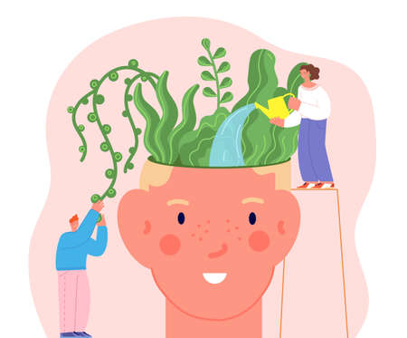 Mental health concept. Mind therapy, flowers in human head. People care about plants, positive thoughts and happiness utter vector metaphor. Illustration mental mind therapy, head psychotherapy Vettoriali