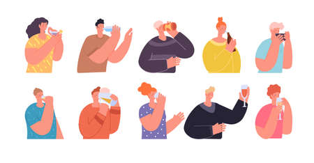 People with drinks. Teens drink, friends holding juice water or wine. Person drinking beverages, isolated party lifestyle utter vector characters. Illustration character girl and boy drink juice