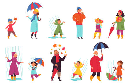 People in autumn. Park walking, fun men wear outdoor cloth. Fall season character, person with umbrella and leaves vector set. Autumn park, people with umbrella under rain walking outside illustration Vettoriali