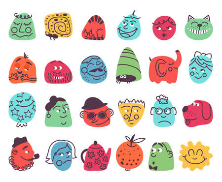 Abstract emotional faces. Friend face avatars, negative happy expressions. Smile people, isolated vector characters. Cute smile head, character humor emotion, comic cheerful and friendly illustration