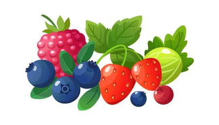 Isolated cartoon berries. Red raspberry, fresh gooseberry blueberry strawberry. Juicy seasonal fruits, summer autumn freshness vegan dessert, vegan vector illustration. Strawberry fresh fruit harvest