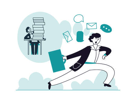 Man too late to work. Unsuccessful time management, tired and scared employee. Office worker look at watch and running vector concept. Illustration of man late at work, businessman or worker Vektorové ilustrace
