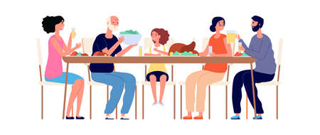 Thanksgiving dinner. Family together, isolated parents and children eating salad turkey. Festive lunch vector concept. Illustration thanksgiving family holiday, happy dinner