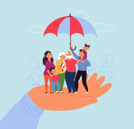 Family life insurance. Financial support, love parents and son. Protected future metaphor, people stand on hand under umbrella decent vector concept. Illustration protect life, security family safety