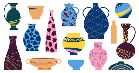 Ceramic vases. Antique vase, ancient pottery icons. Earthenware pot and jug, clay bowl. Flat contemporary freehand decent vector shapes. Vase antique and ancient pottery jug, ceramic pot illustration