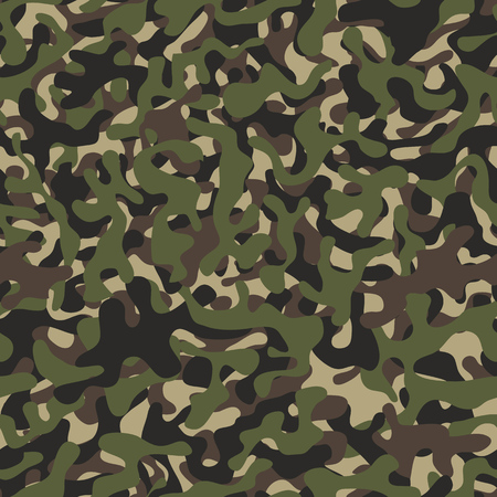Camouflage pattern background seamless. Military camouflage seamless pattern. Four colors. Woodland style camouflage pattern. Classic clothing style masking camo repeat print. Stock Photo