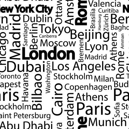 Städte der Welt nahtlose Muster. Die Namen der Städte der Welt. Vektormusterhintergrund der Kunst nahtloser mit Namen von Städten. Nahtloses Muster mit Namen der Städte.