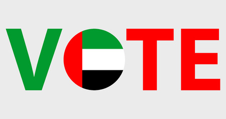 Voting Symbols vector design. template Elections icons. check marks. Patriotic voting poster. Presidential election in UAE. Typographic banner with round flag of the UAE Illustration
