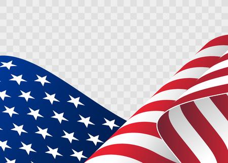 아메리카 합중국의 깃발을 흔들며. 독립 기념일에 대 한 물결 모양 미국 국기의 그림입니다.