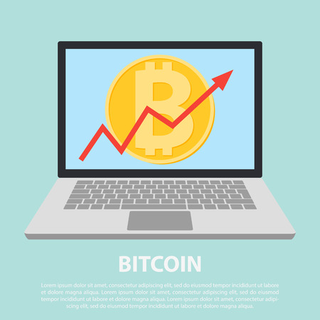 Up graph with bitcoin sign in flat icon design in laptop. flat icon design of uptrend line arrow breaking through bitcoin in tablet. Uptrend line arrow with bitcoin sign in flat icon design
