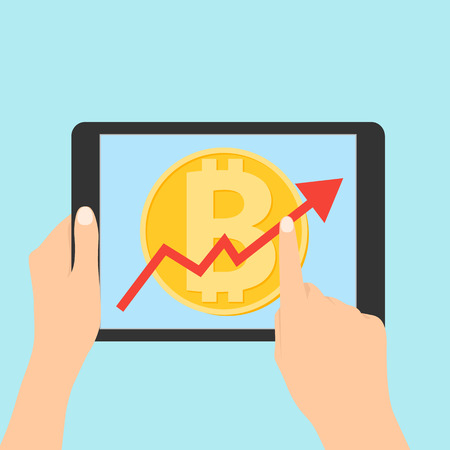 Up graph with bitcoin sign in flat icon design in tablet. flat icon design of uptrend line arrow breaking through bitcoin in tablet. Uptrend line arrow with bitcoin sign in flat icon design Illustration
