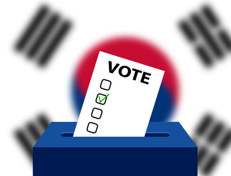 korea flag: Voting Concept Urns for voting with the national flag of South Korea in the background. South Korea Editable voting box and flag. Elections in South Korea ballot box.
