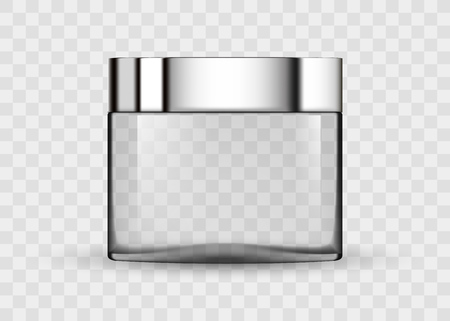 Tarro transparente de vidrio para crema cosmética. 3d icono de paquete cosmético realista transparente tubos vacíos en el fondo transparente ilustración vectorial. Paquete cosmético para crema. Ilustración de vector