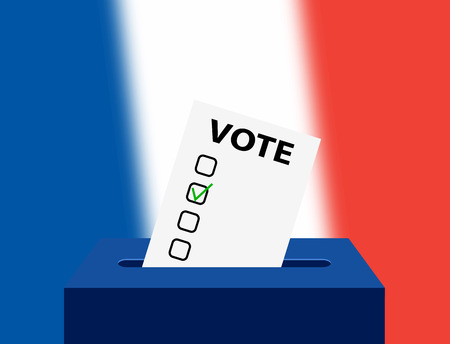French Editable voting box and flag. France Federal Election. vote ballot over the France national flag for the upcoming election. Illustration