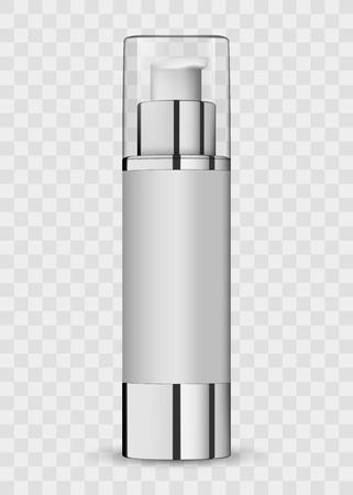 Tubi vuoti dell'icona cosmetica realistica bianca bianca del pacchetto 3d sull'illustrazione trasparente di vettore del fondo. Realistico flacone in plastica bianca per sapone liquido alla crema con una pompa.