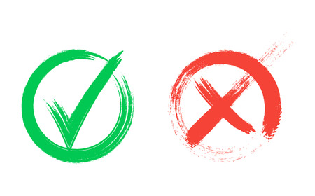 Tick icon set. Stylish check mark icon set in green and red color, vector illustration. Check Marks painted with a brush, isolated on white. Grunge checkmarks in checkbox.