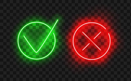 Marque el ícono establecido. El icono elegante de neón de la marca de verificación fijó en el color verde y rojo, ejemplo del vector. Marcas de verificación pintadas con un pincel, aislado en blanco. Marcas de grunge en la casilla de verificación. Ilustración de vector
