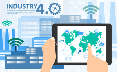 Smart industry 4.0, automation and user interface concept: user connecting with a tablet and exchanging data with a cyber-physical system. Concept Industry 4.0 and 4th industrial revolution. Illustration