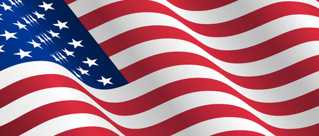Illustration of waving USA flag. Waving flag of the United States of America, American for Independence Day