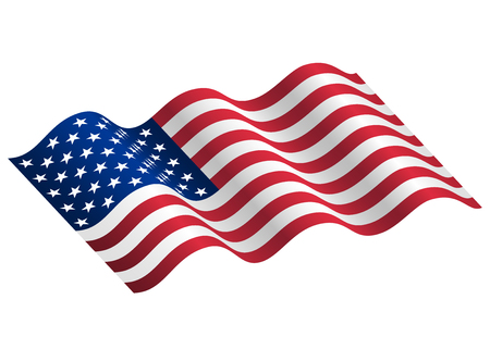 federal election: Illustration of waving USA flag. Waving flag of the United States of America, American for Independence Day