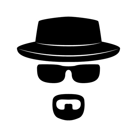 Agent icon. Spy sunglasses. Hat and glasses. Strange person in a hat and dark glasses. Vector icons for search engine.