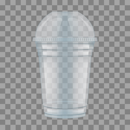 Clear plastic cup with sphere dome cap for milkshake and lemonade and smoothie. Empty Transparent Disposable Plastic Milkshake Cup With Lid. Realistic Vector Illustration.