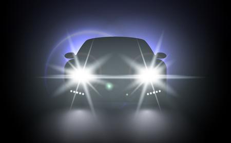 Voitures éclaire effet de lumière. Lumières de train lumineux de vecteur pour votre conception. Lumières de voiture composition réaliste de paysage urbain de nuit et silhouette automobile élégante avec phares et ombres Vecteurs