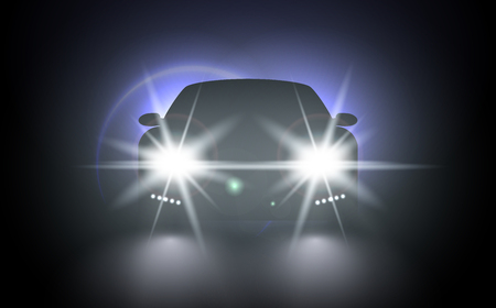 Cars flares light effect. Vector bright train lights for your design. Car lights realistic composition of night urban scenery and stylish automobile silhouette with headlights and shadows