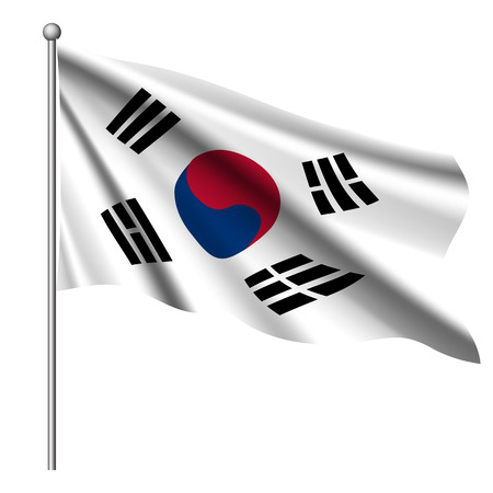 South Korea flag background with cloth texture.  Waving in the flagstaff flag of South Korea