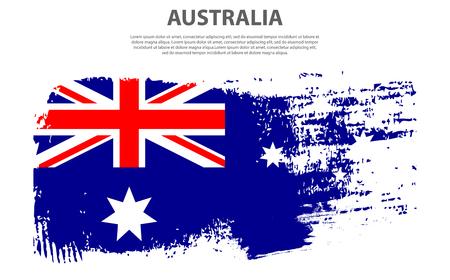 Flag of Australia, brush stroke background Vector graphics illustration. national holiday Australia Day on January 26 for the graphic design.