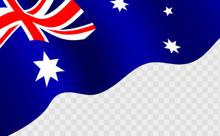 Illustration of a waving Australian flag against transparent background. Happy Australia day 26 january festive background with flag.