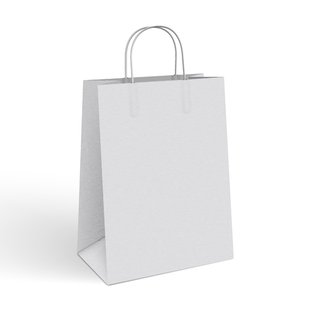 3d realistic vector illustration of white paper shopping bag
