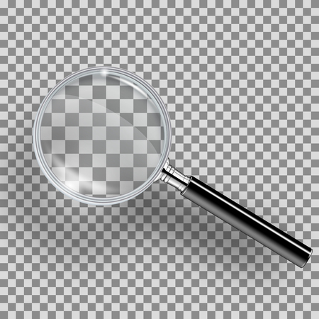 Realistic loupe with black handle, highlights, shadow. Magnifying glass realistic isolated on transparent background. Reading-glass with highlights and with magnification effect
