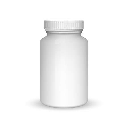 Medicine bottle on white background. Realistic vector 3d blank plastic jar with cap for pill or capsules. Mock-up package for medication: tablets, vitamin, aspirin. Medicine bottle for medicament. Ilustrace