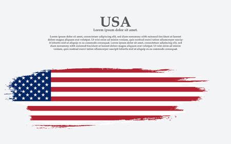 Grunge American flag.Vector flag of USA. United States banner vintage textured background.