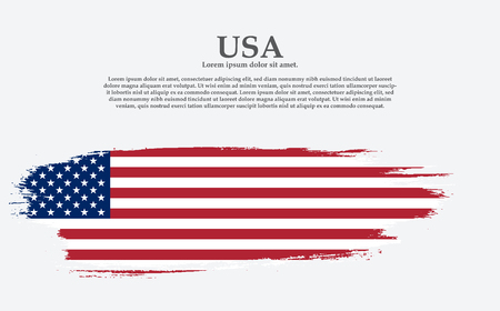 Grunge American flag.Vector flag of USA. United States banner vintage textured background.