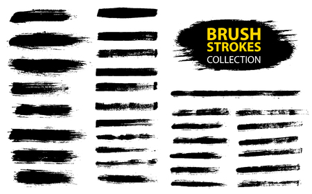 Vector large set different grunge brush strokes. Dirty artistic design elements isolated on white background. Black ink vector brush strokes Фото со стока - 95362277