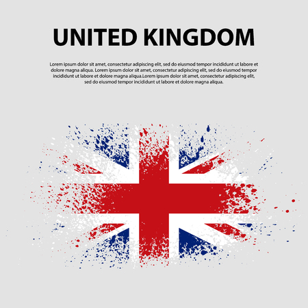 Flag of the United Kingdom of Great Britain and Northern Ireland, brush stroke background. Flag of United Kingdom. The Union Jack. Grunge UK flag.