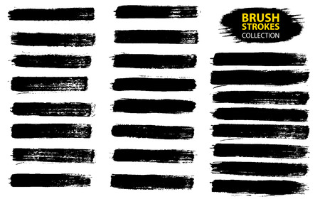 Large set different grunge brush strokes. Dirty artistic design elements isolated on white background. Black ink vector brush strokes. Black isolated paintbrush collection. Brush strokes isolated 版權商用圖片 - 97071647