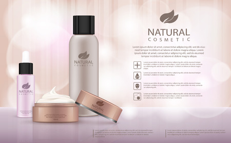 Moisturizing cosmetic products ad, llight beige bokeh background with beautiful containers 3d illustration. Cosmetic cream containers and tubes for cream, lotion, shampoo, balsam, conditioner, spray
