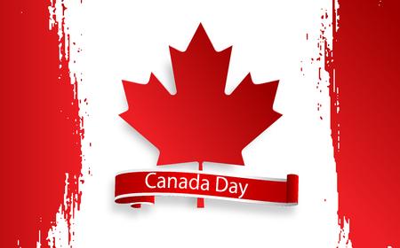 Feliz día de Canadá, tarjeta de celebración de vacaciones de 1 de julio. Hoja de arce en la bandera hecha en el fondo de trazo de pincel. Ilustración de vector. El primer día de julio, un día festivo con el nombre de Dominion Day