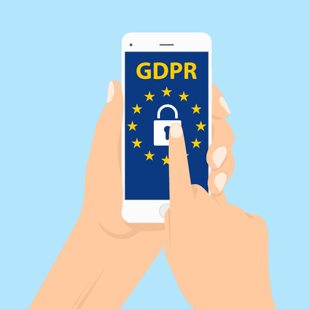 GDPR - General Data Protection Regulation, big lock and letters on digital smartphone. vector illustration in a flat style