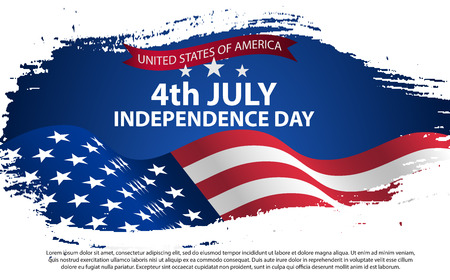 Fourth of July Independence Day. Vector illustration in grunge style with cracks and abrasions. Illustration
