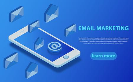 E-Mail-Marketing flaches vektorisometrisches Konzept. Mobiles Marketing mit E-Mail-Abonnement.