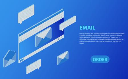 E-Mail leere Vorlage Internet-Mail-Frame-Schnittstelle für E-Mail-Nachricht Isometrische E-Mail-Posteingang elektronische Kommunikation. E-Mail Marketing. Empfangen von Nachrichten. Vektorgrafik