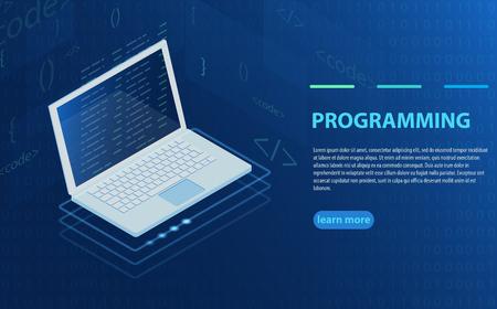 Programming and software development, program code on laptop screen, big data processing, computing isometric. Concept of programming, data processing. Computer code with windows on laptop screen.