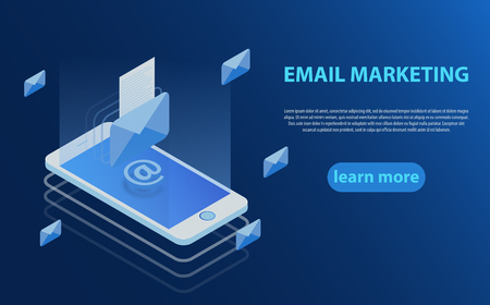 Mobile e-mail notification concept. Communication, information dissemination, sending email. 3D style design - Email marketing, Mobile marketing. Isometric vector illustration.