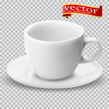 Realistic blank empty cup for coffee tea. 3d illustration of a high detail of a white mug on a saucer