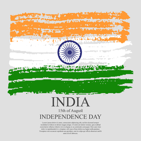Indian flag tri-color based grunge design with floral frame decorative background. illustration of grungy Indian Flag for Indian Independence Day. 15 th of August