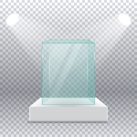 Empty transparent glass box on pedestal with spotlights on the sides on a transparent background. Realistic glass square showcase. Illustration for exhibition and presentation. 3d vector.